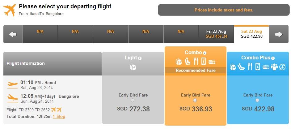 Vé máy bay Tiger Air Hà Nội đi Bangalore