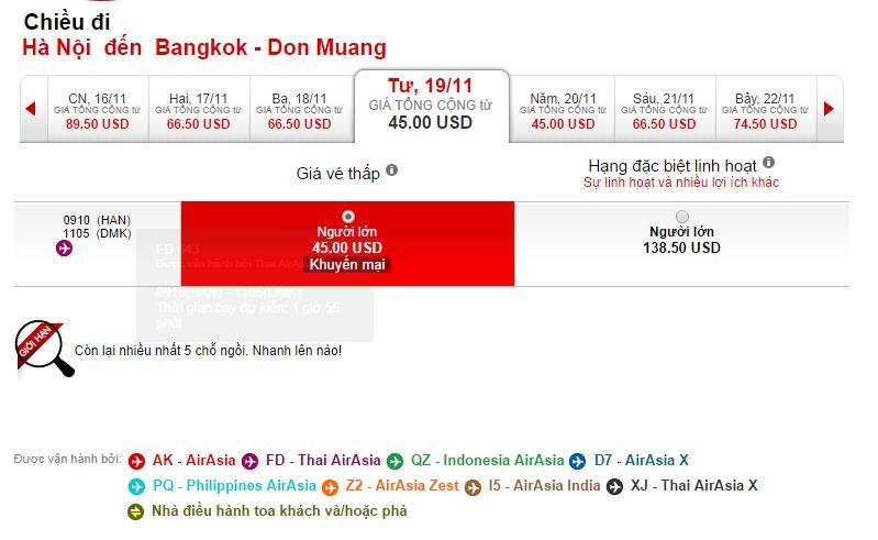 Vé máy bay Hà Nội đi Thái Lan bao nhiêu tiền