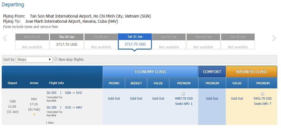 Vé máy bay Hồ Chí Minh đi Cuba
